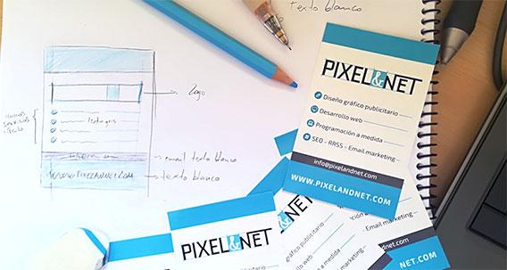 diseño de tarjetas de visita Pixel&NET